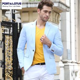 Venta al por mayor-PortLotus hombres traje chaqueta de la marca de vestir de moda Slim Fit Formal estilo de manga llena de solo botón de traje de negocios de color sólido 008 desde traje formal de un solo botón delgado fabricantes