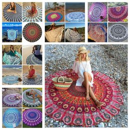 Wholesale Round Mandala Bikini Beach Cover Ups Beach Towel Bikini Cover Ups Bohemian Hippie Beachwear Beach Sarongs Shawl Bath Towel Yoga Mat F286