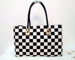 Wholesale Classic Design Handbag - Fashion Black And White Chequer Design Women Leather Handbag Classic Designer Totes Single Shoulder Bag Simple Big Shipping Bag