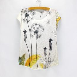 Promotion imprimé floral t-shirts femmes Vente en gros-Dandelion imprimé femmes vêtements 2016 été robes filles t-shirts à manches courtes O-cou top tees bas prix vente chaude