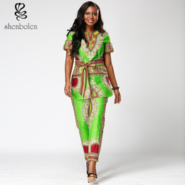 In summer 2017 Shenbolen lasted african women print suit African style dashiki Suit a belt with short sleeves free package mail