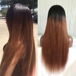2017 cordón lleno recta superior de seda 4 * 4 Pelo recto de seda Ombre Brown 1b30 Pelucas llenas del cordón del color Glueless Silk Top Lace Front Wigs barato cordón lleno recta superior de seda