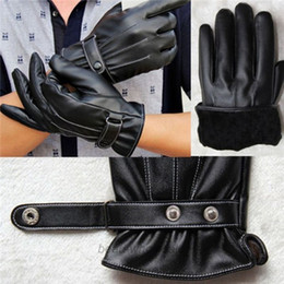 Classic Black Mens Luxurious and High Grade PU Leather Winter Super Driving Warm Gloves Full Finger Cashmere