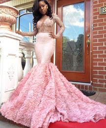 African Arabic Pink Mermaid Long Sleeves Prom Dresses Middle East 2019 for Black Girls Sexy Sheer Beading Custom Made Evening Dresses