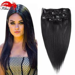 Descuento extensión del pelo humano clip de la cabeza llena Clip de Hannah en extensiones 200g del pelo humano 18