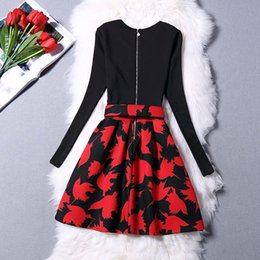 Wholesale New European Print of Fund of Autumn Winters is Ebay High End Foreign Trade Big Hot Style Autumn Dresses