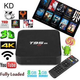 Wholesale 5pcs T95M Android TV Box Amlogic S905X Quad Core kd Pre installed k k G G HDMI WiFi Streaming Media Player