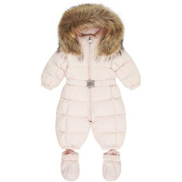 Wholesale Kids Duck Down Snowsuit Russia Winter New Born Baby Rompers Jumpsuit Infant Boys Girls Clothing Baby Costume