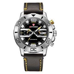 LONGBO luxury fashion brand men's sports watch calendar waterproof quartz watch leather watch strap free delivery