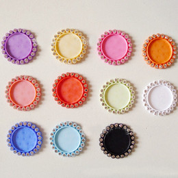 Wholesale Mixed Color Resin Cameo Base With Clear Rhinestone Fit 25mm Cabochon For Kids Hair Jewelry Brooch Accessories