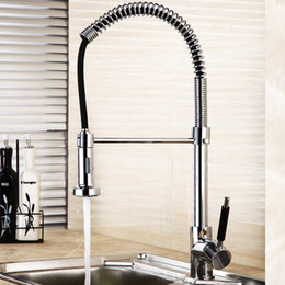Deck Mounted Chrome Brass Kitchen Faucet Single Handle Sink Mixer Swivel Spout