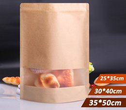nice quality big size Stand UP Kraft Paper Bag with Visaul Window, Ziplock Packaging Bag for Snack Candy Cookie free shipping 50pcs lot