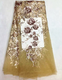 Wholesale 5 Yards pc Beautiful copper french net lace fabric and purple sequins flower design african mesh lace for dress LJ8