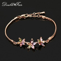 Unique Chic Colorful Flower Rhinestone Chain Bracelets & Bangles 18K Gold Plated Jewelry For Women Crystal & CZ Diamond Wholesale DFH021