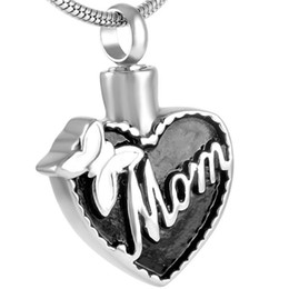 IJD8555 Mom Bowknot Heart Cremation Funeral Urn Necklace Memorial Keepsake Pendant Ash Jewelry with Free Engraving