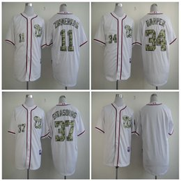 2017 gros national Vente en gros Chandails de baseball pour hommes Nationalités de Washington 11 Ryan Zimmerman 34 Harper 37 Strasburg Authentique 2016 USMC Home Cool Base Jersey gros national promotion