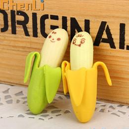 Acheter en ligne Enfants mignons effaceurs-Vente en gros-Livraison gratuite 2pcs / lot mignonne en forme de banane en forme de gomme érable caoutchouc nouveauté Kids école papeterie cadeau CL-1805