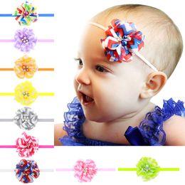 Sky Blue and White Chevron Rhinestone Headband  Newborn Headband  Baby Headband  Photo Prop pearl headband thin elastic