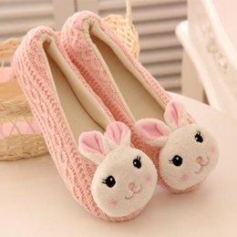 Wholesale Knitting Wool Cute Panda Bunny Animal Cotton Women Slippers Comfortable Non Slip Soft Indoor Shoes Home Slippers Beige Pink