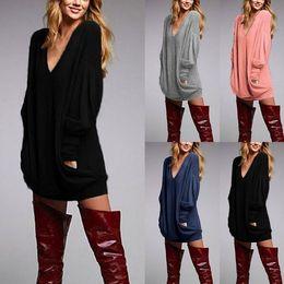 """Senhoras jumpers casuais On-line-Sexy """"das senhoras da ligação em ponte do V-pescoço da luva longa das senhoras do t-shirt da parte superior desgastando da blusa ocasional S, M, L, XL"""