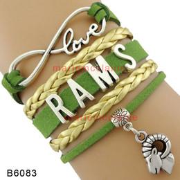 (10 Pieces / Lot) Infinity Love RAMS Bracelet Sport Team Bracelet Charm Chèvre Or Vert Cuir Wrap Custom Tous les thèmes Drop Shipping à partir de charmes de chèvre fabricateur
