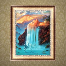 Wholesale Full Drill DIY Diamond Painting Embroidery D Beauty Waterfall Cross Stitch Crystal Square Home Bedroom Wall Decoration Decor Craft Gift