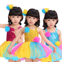 Kids Party Sequined Dance Dress Clothes Outfits Girls Performance Baby Ballroom Dancewear costumes TUTU Dress Stage wear for Girls