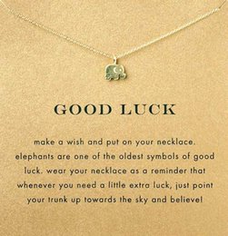 Wholesale With card cute Dogeared Necklace with elephant pendant good luck elephant noble and delicate no fade and high quality