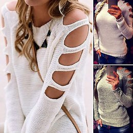 Senhoras jumpers casuais à venda-Atacado-2016 Autumn Winter Clothes Mulheres Cut Out manga comprida Pullover Tops senhoras Casual Knitwear Sweater