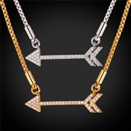 U7 Collarbone Choker Arrow Bar Choker Necklace Gold Platinum Plated Box Chain for Women Jewelry Cubic Zirconia Choker Accessories N2454