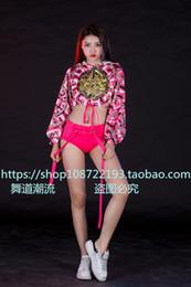 Jazz rosa en venta-2 picec sets Bailarín de plomo rosa DJ famale trajes sexy jazz escenario de ropa club de discoteca para el cantante bailarín estrella rendimiento mostrar