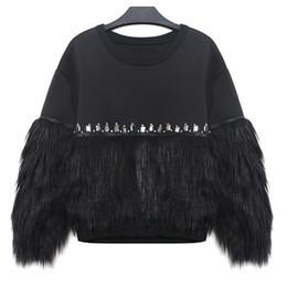 Promotion hoodie de la fourrure pour les femmes 2017 Automne Hiver Femmes Sweats à capuche Sweats à capuche en épicé épissé avec strass Nouveau sweat-shirt à capuche Streetwear pour femmes