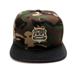 Wholesale Hipster Camouflage Cotton GANGSTA Shield Logo Baseball Cap Snapback Caps Outdoor Sunhat For Men Women HipHop Hat Brand Hats Best Gift