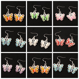 Enamel Rhinestone Butterfly Earrings 925 Silver Fish Ear Hook 21pairs lot 7Colors Chandelier Jewelry E1559 22x37mm
