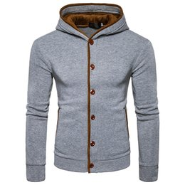 Free Shipping US Size S-2XL High Quality 2017 Autumn and Winter New Men's Button Design Spell Color Striped Hooded Cardigan Sweater
