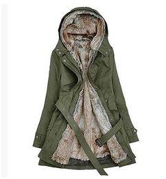 Hot! Faux Fur Lining Women's Fur Hoodies Ladies coats winter warm long coat jacket cotton clothes thermal parkas plus