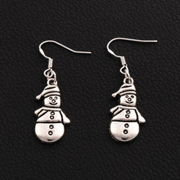 Christmas Snowman Earrings 925 Silver Fish Ear Hook 50pairs lot Tibetan Silver 12.5x41.8mm E772