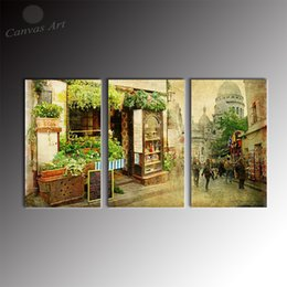 No Framed Modern 3 Panel Wall Art Painting Countryside Scenery Decor Picture Wall Pictures for Restaurant Decoration