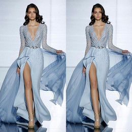 2017 See Through Sexy Zuhair Murad Mermaid Evening Dresses With Long Sleeves Formal Prom Dress Crystals Blue High Split Celebrity Gowns