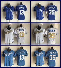 Dame ville en Ligne-2017 Femmes Kansas City Royals Base-ball Cool base 35 Eric Hosmer 13 Salvador Perez 6 Lorenzo Cain 4 Alex Gordon Ladies Royals Jersey