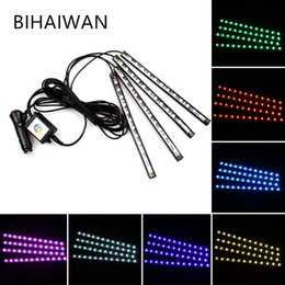 BIHAIYUAN 12 LED Bluetooth Phone Control Car Strip Light Flexible Atmosphere Lamp Kit Foot Android iOS APP Cigarette With RGB Controller