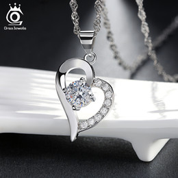 Wholesale Beautiful Heart Necklace Precious Austria Crytal SWA Elements Sterling Silver on Layer Platinum Plating ON19
