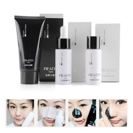 Wholesale 3pcs set PILATEN Peel Off Sucção Facial Preto Máscaras Blackhead Remover Conjunto Set Tratamento Acne Liquid Black Mask Skin Toner compacto grátis