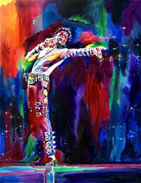 Wholesale Abstract Michael Jackson Concerts genuine Pure Handpainted Art oil Painting On Thick Canvas Multi Size ny