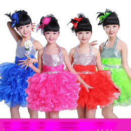 Girls Sequined Ballet Dancewear dress Kids Salsa Party weeding Dress Children's Jazz Fancy tutu dress kids Ballroom Ballet Party Dancing