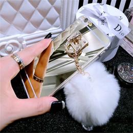 Anillo de metal espejo en Línea-Para el iPhone 7 7 más los casos lindos Shell de la borla de la cuerda del anillo del anillo de la bola peluda de los casos del silicón para el iPhone 5s se 6 6s más el borde s6 s7 s7 de Samsung