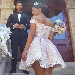 2017 Blush Pink With White Applique Short Homecoming Dresses Off Shoulder Back Zipper Custom Made Knee-Lenght Cocktail Gowns Short Prom Gown