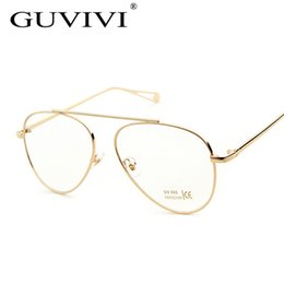 2017 or gros cadres lunettes Vente en gros- 2016 GUVIVI Femmes Lunettes cadre Or Argent Noir Cadre Verres transparents Lunettes optiques Lunettes lunettes pour femmes GY-8276 abordable or gros cadres lunettes