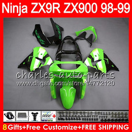 8Gifts 23Colors For KAWASAKI NINJA ZX900 ZX9R 98 99 00 01 900CC 48HM13 green black ZX-9R ZX 9 R ZX900C ZX 9R 1998 1999 2000 2001 Fairing kit