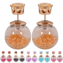 Color different color crown zircon Rhinestone mounted in glass ball stud earrings FZ60